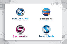3d Letter S Logo Vector Design With Modern Colorful Style, Illustration Of 3d Letter S For Technology Company.