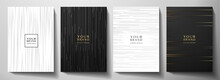 Modern Black And White Cover Design Set. Luxury Creative Dynamic Diagonal Line Pattern. Formal Premium Vector Background For Business Brochure, Poster, Notebook, Menu Template