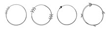 Set Of Round Hand Drawn Doodle Frames Isolated On White Background