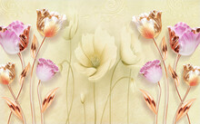 3d Mural Wallpaper . Tulip Flowers With Bright Yellow Background . For Home Wall Decor