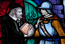Priest And Soldier On Stained Glass