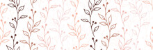 Berry Bush Sprigs Organic Vector Seamless Pattern. Ornate Floral Fabric Print. Wild Plants Foliage And Bloom Illustration. Berry Bush Sprouts Sketch Repeating Background