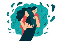Friend Or Mother Supports In Stress Or Depression. Hugs As A Way To Support And Show Love And Compassion. Mental Health Creative Concept. Flat Vector Illustration.