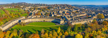 Aerial View By Drone Over The Georgian City Of Bath, Royal Victoria Park And Royal Cresent, Bath, Somerset