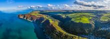Aerial View Over Exmoor National Park Coastline, Lynton And Lynmouth, North Devon