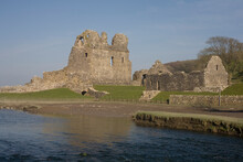 Ogmore Castle Beside The Ewenny River On A Sunny Spring Afternoon, Glamorgan, Wales