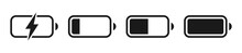 Battery GSM Icon Set. Isolated Black Smartphone Battery Level Indicator Icons On White Background. Concept Power, Energy, Low , Full, Emplty,  Load. UI Elements Symbols. Vector Design.