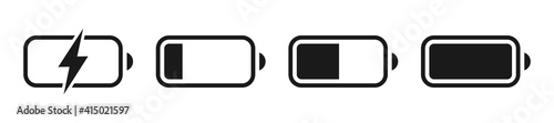 Obraz Battery GSM icon set. Isolated black smartphone battery level indicator icons on white background. Concept power, energy, low , full, emplty,  load. UI elements symbols. Vector design. - fototapety do salonu
