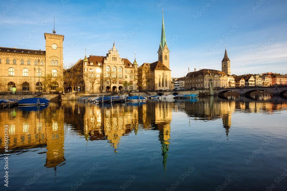 Fototapeta Zurich city's historical Old town facing Limmat river, Switzerland