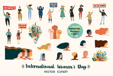 International Womens Day. Vector Clipart With Women Different Nationalities And Cultures.