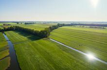 The Typical Dutch Polder Landscape At The End Of Summer, Langerak, Zuid-Holland, Netherlands