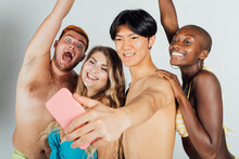 Friends Taking A Selfie, Partially Clothed