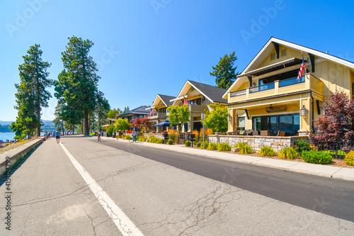 Fototapeta Waterview luxury townhomes lakeside across from Lake Coeur d'Alene, in the mount