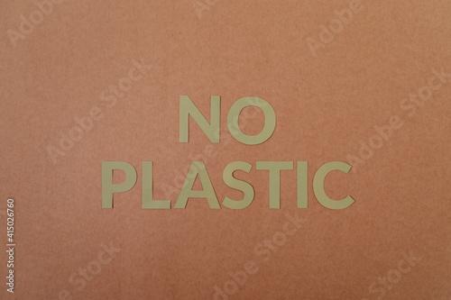 Fototapeta No Plastic cardboard letters on a craft paper obraz na płótnie