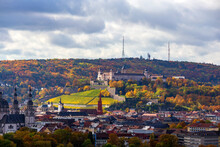 Germany, Bavaria, Wurzburg, City In Autumn With Marienberg Fortress In Background