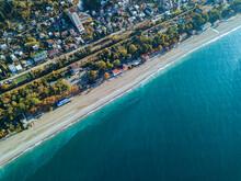 Georgia, Abkhazia, Gagra, Aerial View Of Black Sea Coastline