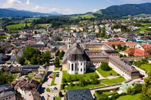 Aerial Of Mondsee Village With Basilika Saint Michael On The Lake