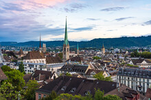 View Of The Skyline Of Niederdorf Old Town By Sunset In Zurich, Switzerland