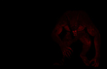 Illustration Of A Werewolf Dogman Creature Lit By Red Light