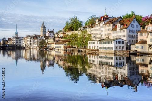 Zurich city's historical Old town on Limmat river, Switzerland © Boris Stroujko