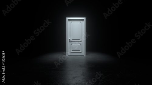 Fotografering Closed white door in a dark room with bright light