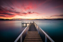 Lake Taupo North Island New Zealand Sunset