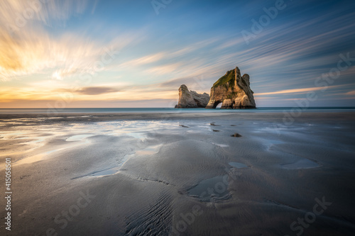 Wharakiri Beach Golden Bay South Island New Zealand Rock Formations in sea