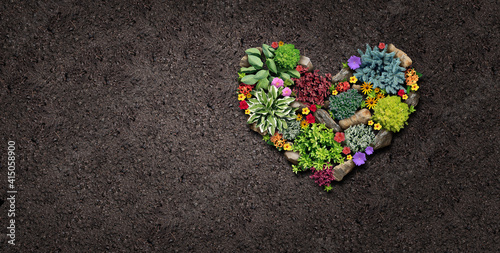 Gardening hobby and gardden love landscaping design shaped as a heart with a flo Fototapeta