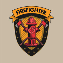 Retro Shield For Fire Department Vector Illustration. Bright Label With Red Fire Hydrant And Crossed Axes. Emergency And Firefighting Concept Can Be Used For Retro Template