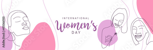 Obraz International women's Day greeting card template. Postcard on March 8. - fototapety do salonu