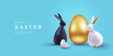 Easter Banner, Card, Holiday Cover, Poster Or Flyer Design In 3d Realistic Style With Golden Egg, White And Black Rabbit On Blue Background. Modern Design For Social Media, Sale, Advertisement, Web