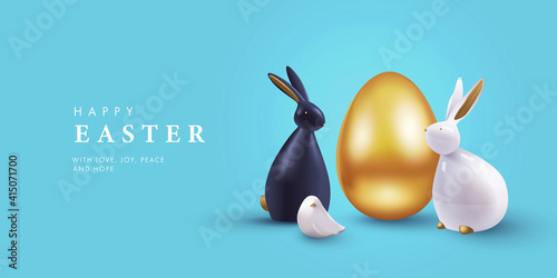 Fototapeta Easter banner, card, holiday cover, poster or flyer design in 3d realistic style with golden egg, white and black rabbit on blue background