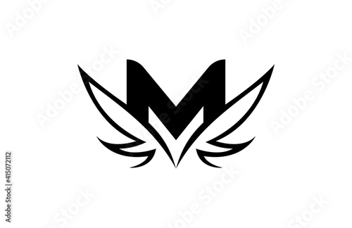 Initial M Linked Sharp Shape Wings Vector Logo Fototapeta
