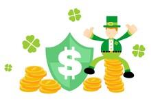 Leprechaun Shamrock Celtic And Dollar Shield Business Money Protection Cartoon Doodle Flat Design Style Vector Illustration