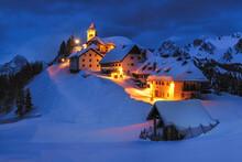 Europe, Italy, Monte Lussari. Winter Night At Ski Resort.