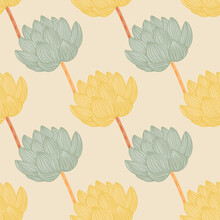 Pale Palette Seamless Pattern With Green And Yellow Colored Lotus Flower Shapes. Pastel Palette. Simple Design.