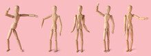 Collage Of Wooden Mannequin On Color Background
