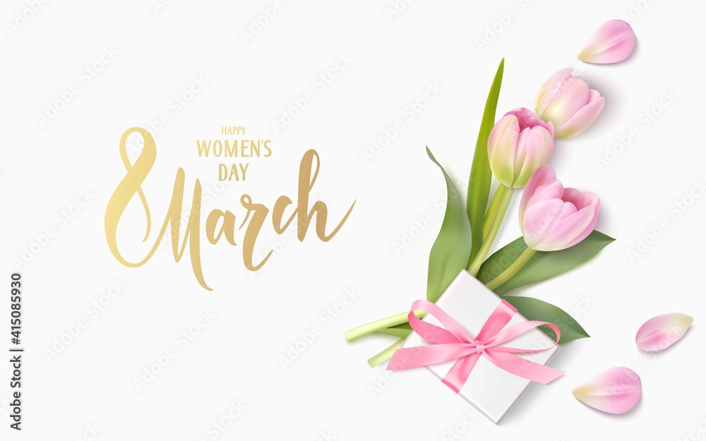 Fototapeta Happy Womens Day. 8 March design template. Calligraphic lettering text with decorative gift box and tulip flowers. Vector illustration