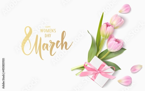 Fototapeta Happy Womens Day. 8 March design template. Calligraphic lettering text with decorative gift box and tulip flowers. Vector illustration	 obraz