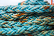 Italy, Sicily, Agrigento Province, Sciacca. Ropes on a fishing boat in the harbor of Sciacca, on the Mediterranean Sea.