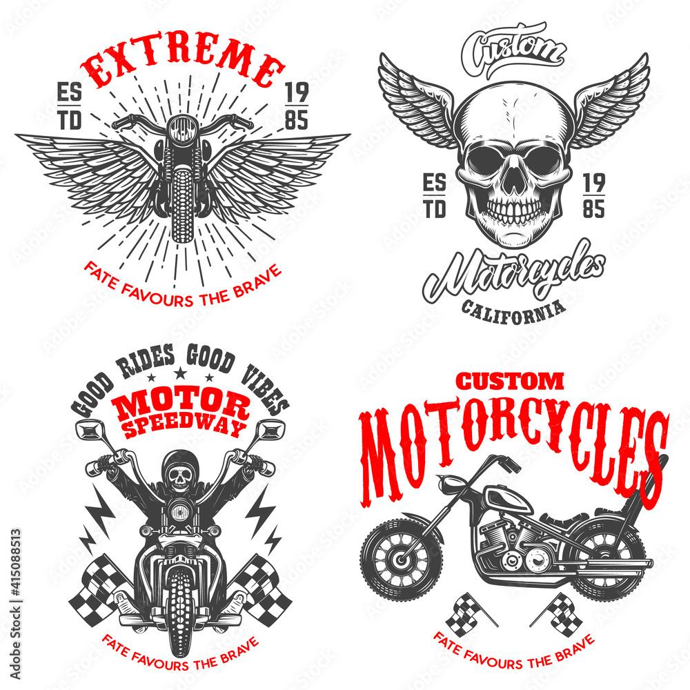 Fototapeta Set of the racer emblems. Winged racer skull, motorcycle, biker skeleton. Design element for logo, label, sign, emblem, poster, t shirt. Vector illustration
