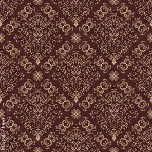 Tapety Orientalne  orient-klasyczny-wzor-bezszwowe-tlo-z-elementami-vintage-orient-brazowy-i-zloty-tlo-ozdoba-na-tapete-i-opakowanie