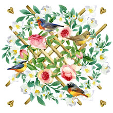 Silk Scarf Coupon With Blossom Garden Flowers And Birds.
