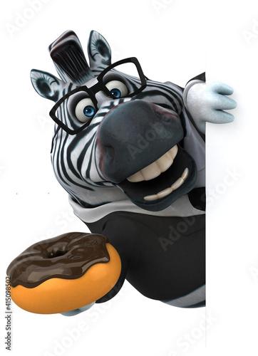 Fototapeta premium Fun zebra - 3D Illustration