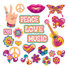 Hippie Icons, Signs Of Peace, Love And Music. Vector Cartoon Set Symbols Of Hippy Culture With Hearts, Flowers, Guitar, Hand Gesture And Smile Lips Isolated On White Background