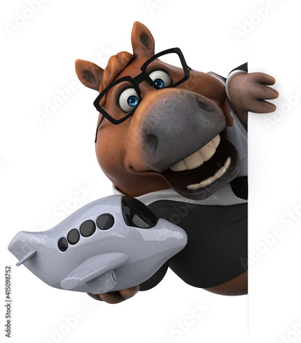Fototapeta Fun horse - 3D Illustration obraz na płótnie
