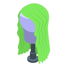 Green Female Hair Icon. Isometric Of Green Female Hair Vector Icon For Web Design Isolated On White Background