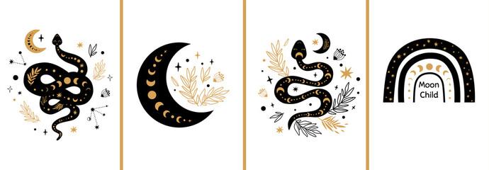 Mystic cards set. Mystical boho floral moon, animal, moon serpent, rainbow Celestial elements Esoteric logo