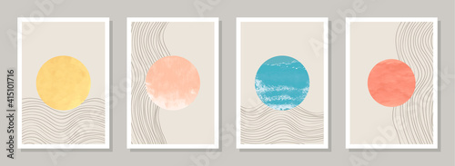 .Trendy abstract minimalist art templates with textured watercolor shapes. Suitable for wall framed prints, posters, home decor, social media posts. Minimalist aesthetic backgrounds set. CMYK