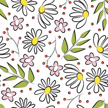 Colored Seamless Pattern With The Image Of A Scattering Of Wildflowers. Print For The Decoration Of Textiles And Wallpaper.